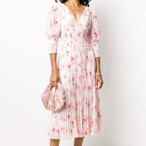 SELF PORTRAIT floral print pleated dress; NWT